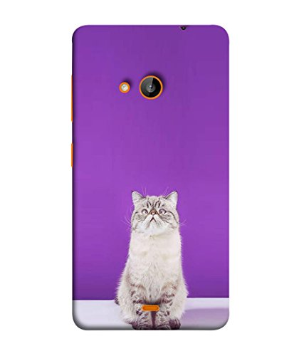 PrintVisa Designer Back Case Cover for Nokia Lumia 730 (white purple kitty enjoying deeply)