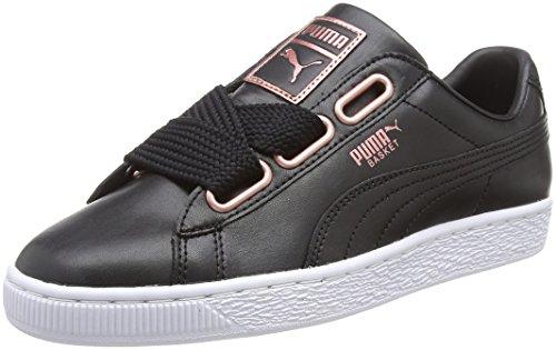 Puma Damen Basket Heart Leather Sneaker, Schwarz Black-Rose Gold, 38.5 EU