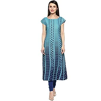 Ziyaa Women's Blue Color Printed Flared Crepe Kurta (ZIKUCR1628)