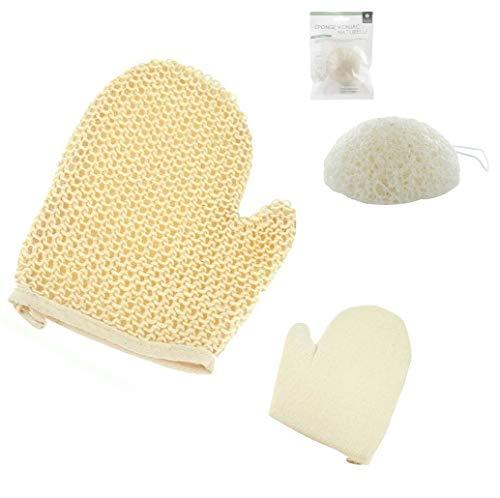 Peeling-Set, Peeling-Handschuh, Sisal, Schwamm, Körper und Schwamm, Konjak, Gesicht Peeling, Natur, 1 Silikonschwamm