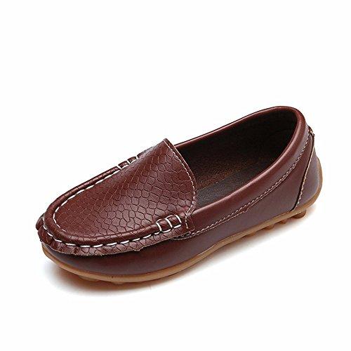 Dorical Unisex Baby Mädchen Jungen Mokassins Kunstleder rutschfest Lauflernschuhe Kinder Loafers Baby Schuhe mit Weich Sohle für Frühling Sommer(1-12 Jahre)(Braun,33 EU) -