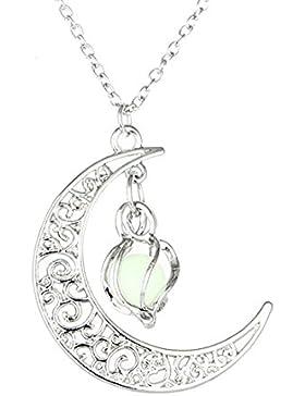 MJARTORIA Damen Kette Nachtleuchtende Starss Halskette Anhänger mit Leuchtend Stein Silber Farbe
