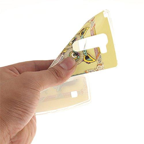 LG Spirit 4G LTE H440N , 3G H420 hülle MCHSHOP Ultra Slim Skin Gel TPU hülle weiche weiche Silicone Silikon Schutzhülle Case für LG Spirit 4G LTE H440N , 3G H420 - 1 Kostenlose Stylus (Löwenzahn sich  bunte ständigen eule mit grünen blättern (Colorful sta