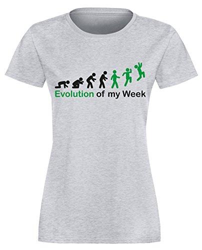 Evolution of my Week - Evolution meiner Woche - Damen Rundhals T-Shirt Grau/Schwarz-gruen