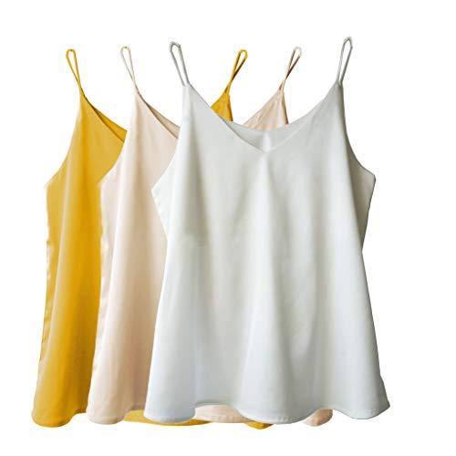 Wantschun Damen Satin Silk Weste Bluse Tank Tops Shirt Cami Spaghetti Träger Camisole Vest V-Ausschnitt S Gelb+Champagne+Weiß - Tank-top Nachtwäsche Shirt