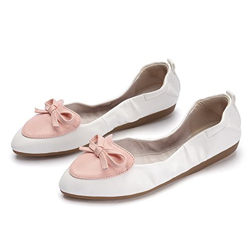 VogueZone009 Femme à Talon Bas Couleurs Mélangées Tire Pointu Chaussures à Plat Blanc