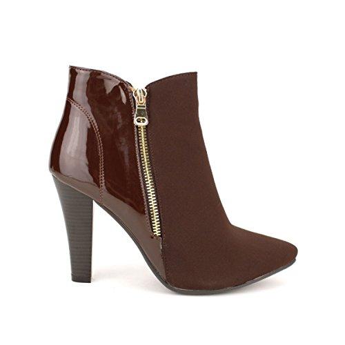 Cendriyon, Bottine bi matière Marron MIKANE Chaussures Femme Marron