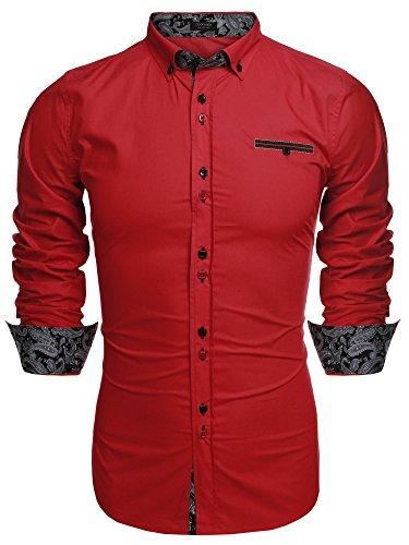 Coofandy camicia uomo manica lunga slim vintage no cappuccio estiva fashion rosso s