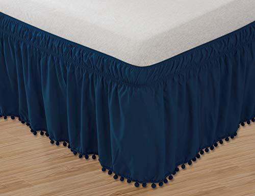 Celine Linen  Top-Knot Quaste Pompom Fransen Bettrock, Umschlag um den Stil, elastisch, knitterfest, 40,6 cm lang, für Doppelbett, Queen, King-Size-Bett Twin/Full Marineblau -
