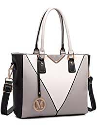 Miss Lulu Leather Look V-Shape Shoulder Handbag Elegant Design Top Handle Fashion Handbags for
