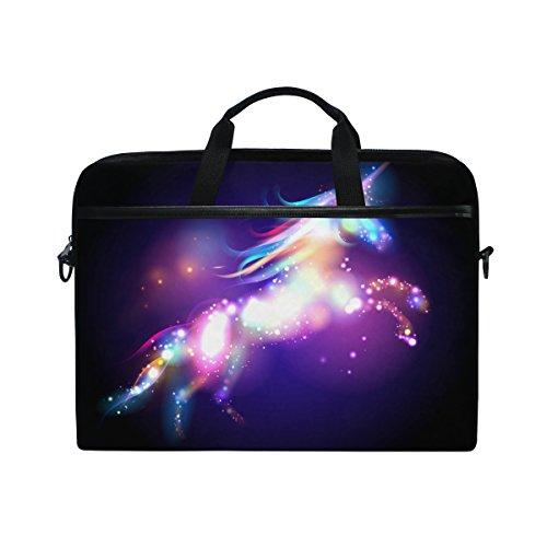 Jstel Laptop-Umhängetasche, Motiv: magisches Einhorn mit Sternen, mit verstellbarem Schultergurt, Schultertasche für Laptops der Größen 14 - 15,6 Zoll (35,6 - 40 cm) -