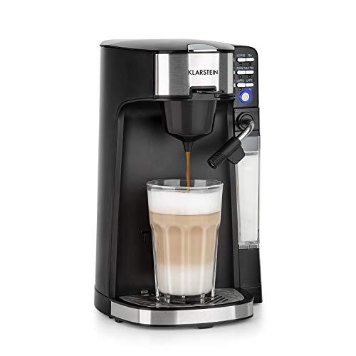 Klarstein Baristomat Heißgetränkeautomat mit integriertem Milchaufschäumer- 2-in-1 Kaffee-Maschine, 350 ml Milchbehälter, zwei Brühgruppen, für Kaffee, Tee, Cappuccino & Latte Macchiato, schwarz