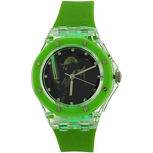 Star-Wars-Boys-Analogue-Yoda-Flashing-Lights-Green-Rubber-Strap-Watch-YOD3702