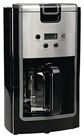 Eurosell 12 Tassen Kaffeemaschine Edelstahl + schwarz Kaffee Maschine für