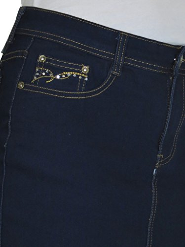 ICE Jeans Denim Mini Gonna, con tratto, paillettes e punto, Indigo Blu Tasca di sequin - 2