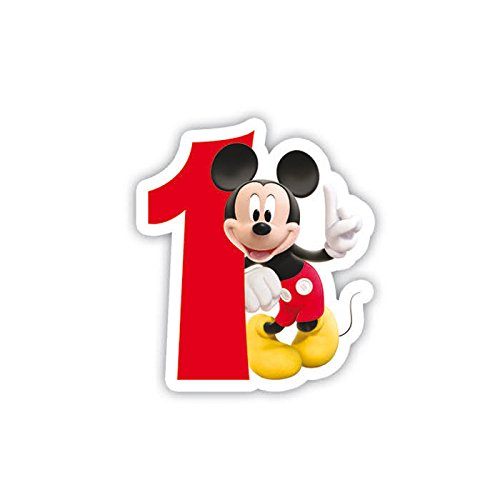 Procos 83149 - Candelina Numerale Mickey Mouse Club House Numero 1, Rosso/Bianco