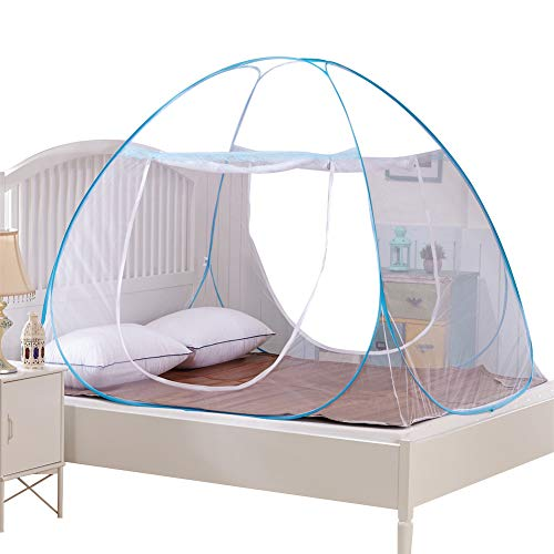 Moskitonetz, Bett Baldachin, Pop Up Fliegennetz, doppelte Tür Anti Mückenstich - 2 Jahre Garantie (180 * 200 * 150 cm) (Blau) - Garantie 2 Baldachin Jahre