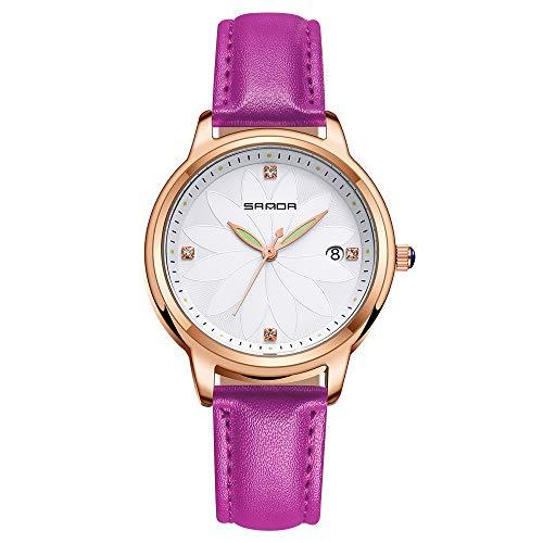 Damen Uhren, L'ananas Frauen Leuchtend Zeiger Blütenblätter Wählen Kalender Armbanduhr Armbänder Women Watches Wristwatch Bracelets (Lila)