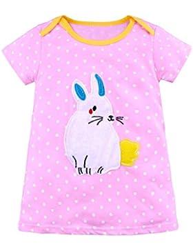 Longra Mädchen Kleider Baby Kleider Festliche Kleider Mädchen Gestreifte Kleid mit Tiere Kinder Cartoon Kleider...