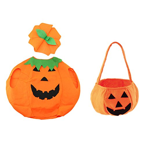 Pie Kostüm Pumpkin - Amosfun Halloween Pumpkin Costume Suit Outfit Dress Up Clothes with Bag for Adult Photo Booth Prop