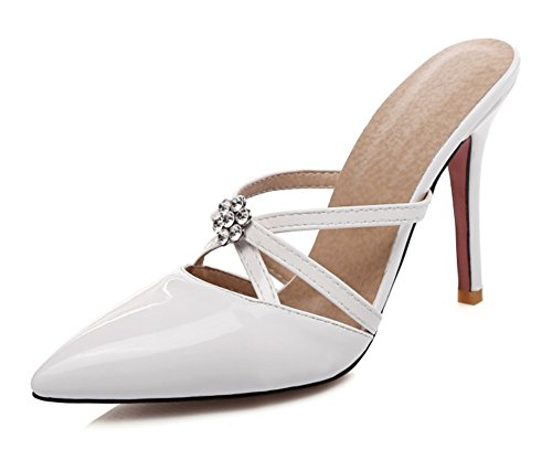 Easemax Femme Mode Strass Talon Aiguille Mules Blanc