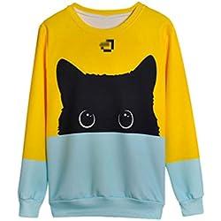 NiSeng Femenina Sudaderas Cuello Redondo Estampadas Animal Suelto Suéter de Pullover Gato M