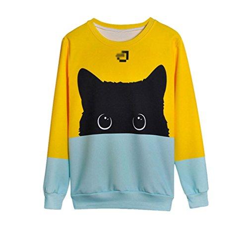 NiSeng Sweatshirt mit Rundhalsausschnitt Pullover Langarm Top zum Damen und Mädchen Katze L
