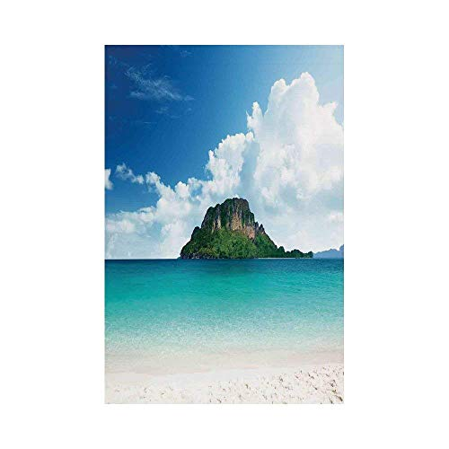 Liumiang Eco-Friendly Manual Custom Garden Flag Demonstration Flag Game Flag,Ocean Island Decor,Poda Island in Thailand South Asian Tropic Paradise Hot Sun with Clouds Photo,Blue White Cream d¨¦COR