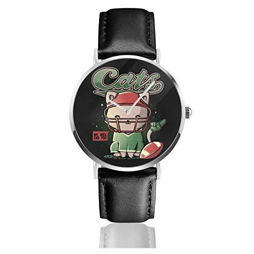 Unisex Business Casual Cats American Football Uhren Quarzuhr Leder schwarz Armband für Männer Frauen Young Collection Geschenk