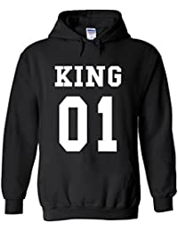 King Or Queen His And Hers Valentines Couple Novelty White Femme Homme Men Women Unisex Sweat à Capuche Hooded Sweatshirt Hoodie
