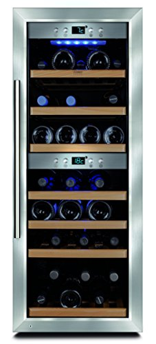 CASO WineMaster 38 Design Weinkühlschrank für bis zu 38 Flaschen (bis zu 310 mm Höhe), zwei Temperaturzonen 5-20°C, Getränkekühlschrank, Energieklasse A