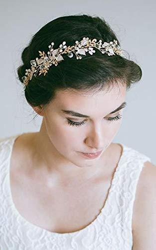 Deniferymakeup Braut Kranz Perlen und Kristall Perlen Blume Blatt Brauthaar Weinrebe Hochzeit Kopfstück Strass Haarteil Braut Haarschmuck Haarschmuck Zubehör