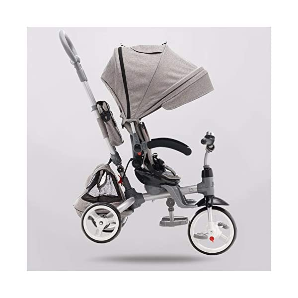 GSDZSY - 4 IN 1 Multifunction Children Tricycle, Adjustable Seat, Baby Can Sit Or Lie Flat, The Seat Is Comfortable And Easy To Use,1-6 Years Old GSDZSY ❀ Material: High carbon steel + ABS + EVA wheel, suitable for children from 1 to 6 years old, maximum load 30 kg ❀ Features: The seat can be rotated 360; the backrest can be adjusted, the baby can sit or lie flat, adjustable push rods and parasols, suitable for different weather conditions ❀ Performance: high carbon steel frame, strong and strong bearing capacity; rubber wheel suitable for all kinds of road conditions, good shock absorption, seat with breathable fabric, baby ride more comfortable 1