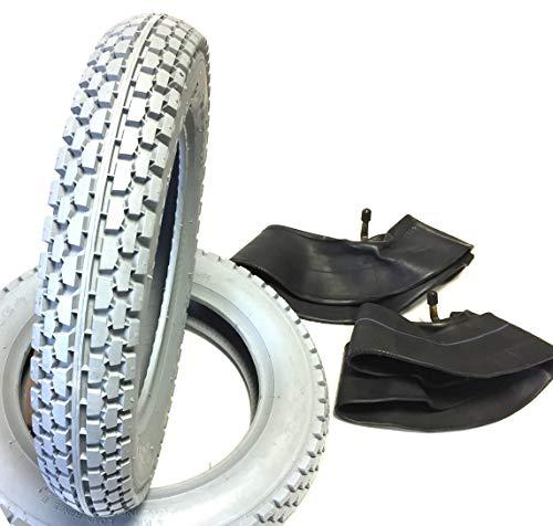 Lot de 2 pneus pour fauteuil roulant Gris 2.50-8 + 2 chambres à air coudé, pneus profilés bloqués, construction stable pneumatique avec Load Range \