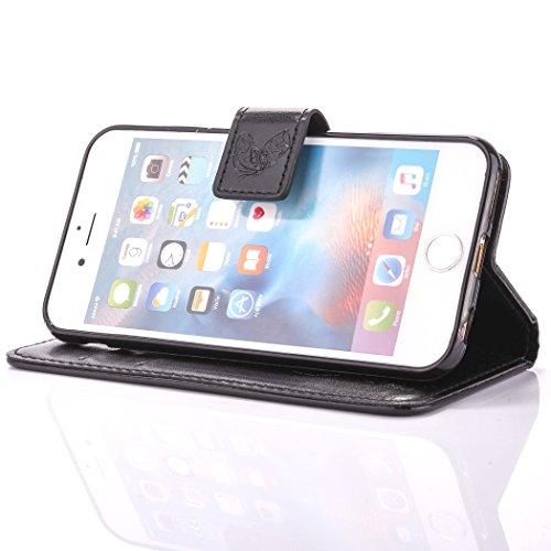 Custodia iPhone 6 Plus, ISAKEN Custodia iPhone 6S Plus, iPhone 6 Plus Flip Cover, Elegante borsa Design Custodia in Pelle Protettiva Portafoglio Case Cover per Apple iPhone 6 5.5/ con Strap / Support Dreamcatcher: nero