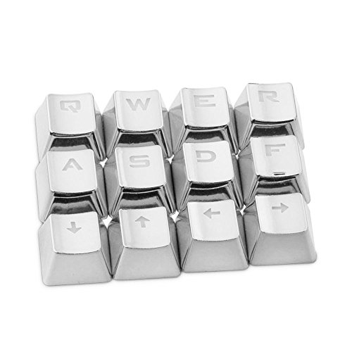 Rosepoem Teclado mecánico Teclado Teclado 12 piezas Juego Teclado Tapas para llaves Transmisión de luz Pbt Plating Key Cap - Plata (Llaves Para Juegos)