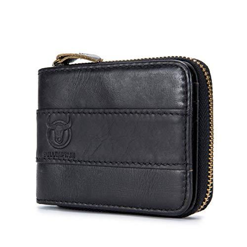 Billetera de Cuero Genuino - Plegable Multifuncional Pequeña Vendimia Cuero Corto Tarjeta de Crédit Monedero
