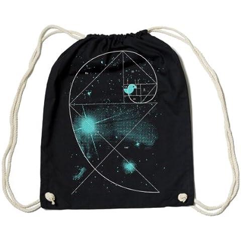 Gym Bag Black 'Birdy of the universe' + + + desde streetwear Diseño Gráficos Label Plata Fischer + + + fabricado a mano en Berlín