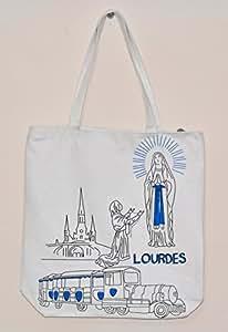 Shopping Bag- Lourdes Sanctuary Shopping Bag in White by Catholic Gift Shop Ltd