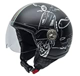 NZI Zeta Grafik Offenes Gesicht Motorradhelm, Matt B-Vespa Turia, Größe M