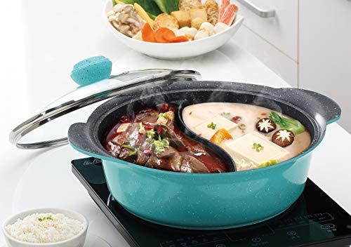 Haufson Hot Pot Yin Yang Hotpot 28 cm 2 Seiten Suppentopf Küche Kasserolle Antihaft Kochtopf chinesischer Hotpot (Teal)