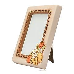 Idea Regalo - THUN ® - Cornice Portafoto da Tavolo medio - con decorazione floreale - formato 10 x 15 cm - color avorio - Ceramica - Linea Country
