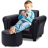 COSTWAY Kindersofa Kindersessel Kindercouch Babysessel Kinder Sofa Sessel mit Fußschemel Farbwahl (Schwarz) preisvergleich bei kinderzimmerdekopreise.eu