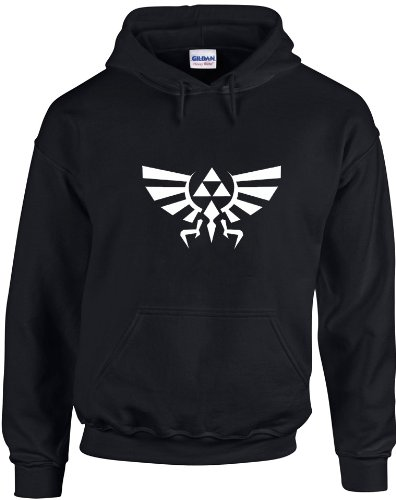 Triforce Logo, Legend of Zelda inspiré Imprimé Sweat à capuche - noir/blanc S= 86/91 cm