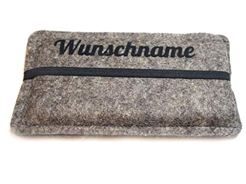 Handytasche aus Wollfilz mit deinem Wunschtext, mit schwarzem Gummiband, passgenau angefertigt für dein Smartphone