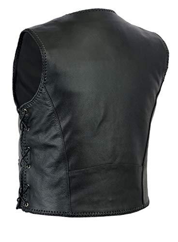 Texpeed - Chaleco de Cuero para Hombre - con Cierre de Gancho - Negro - Tallas de la S a la 10XL - L - 111 cm