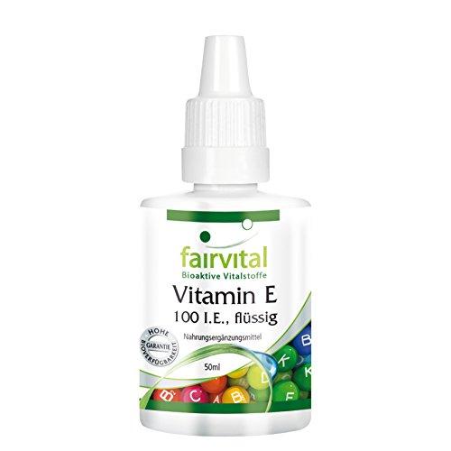 Vitamin E ÖL 100 I.E. flüssig - 50ml - dieses flüssige Vitamin E ist zur Pflege bei trockener, zu Rötungen und Juckreiz neigender Haut geeignet. Sieger bei Vergleich.org Juni 2017 (Tocopherol Vitamin E-acetat)