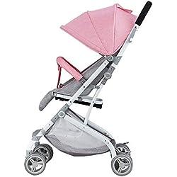 RAQ Cochecitos de bebé Tubo de Acero, Plegado Ultraligero, se Puede sentar, Puede mentir Alto Paisaje Paraguas Carrito bebé (Color : B)
