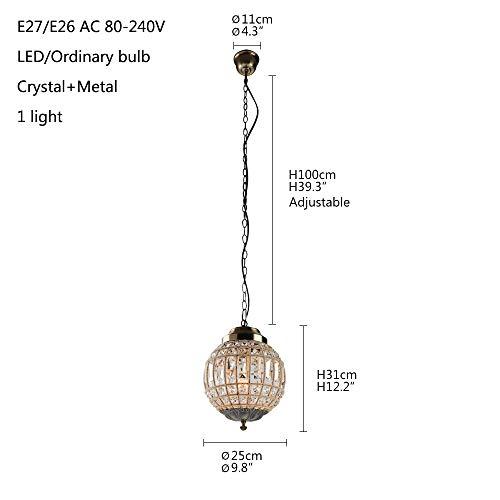 Retro Vintage Royal Empire Ball Style Große Led Kristall Moderne Kronleuchter Lampe Lüster Lichter E27 Für Wohnzimmer schlafzimmer badezimmer, Dia 25 cm, China -