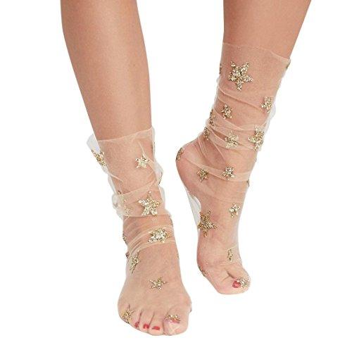 Damen Netzstrumpfhose ,OverDose Frauen Mode Glitter Star Soft Mesh Socke Transparente Elastische Sheer Knöchelsocke kurze Netzsocken (A-Beige) (Blumen-knie-socken)